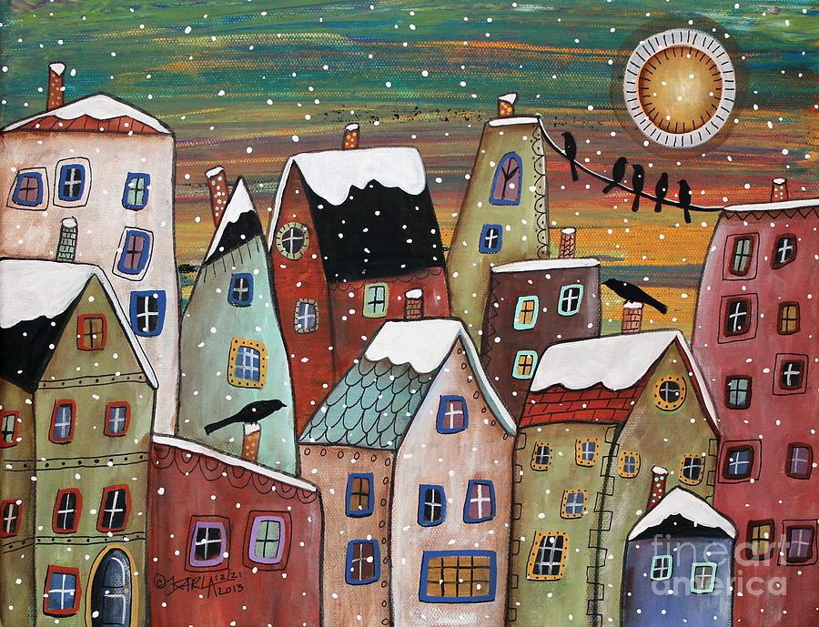 Winter Village Painting - Blizzard by Karla Gerard