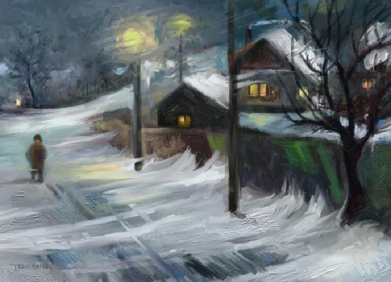 Blizzard Night Painting by Tancau Emanuel
