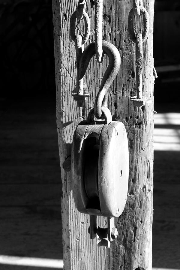 Block And Tackle Photograph - Block And Tackle 3 Bw by Mary Bedy