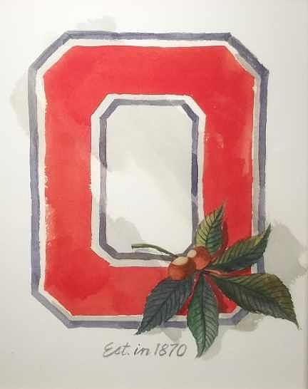 Ohio State University Painting - Block O by Bill Dinkins
