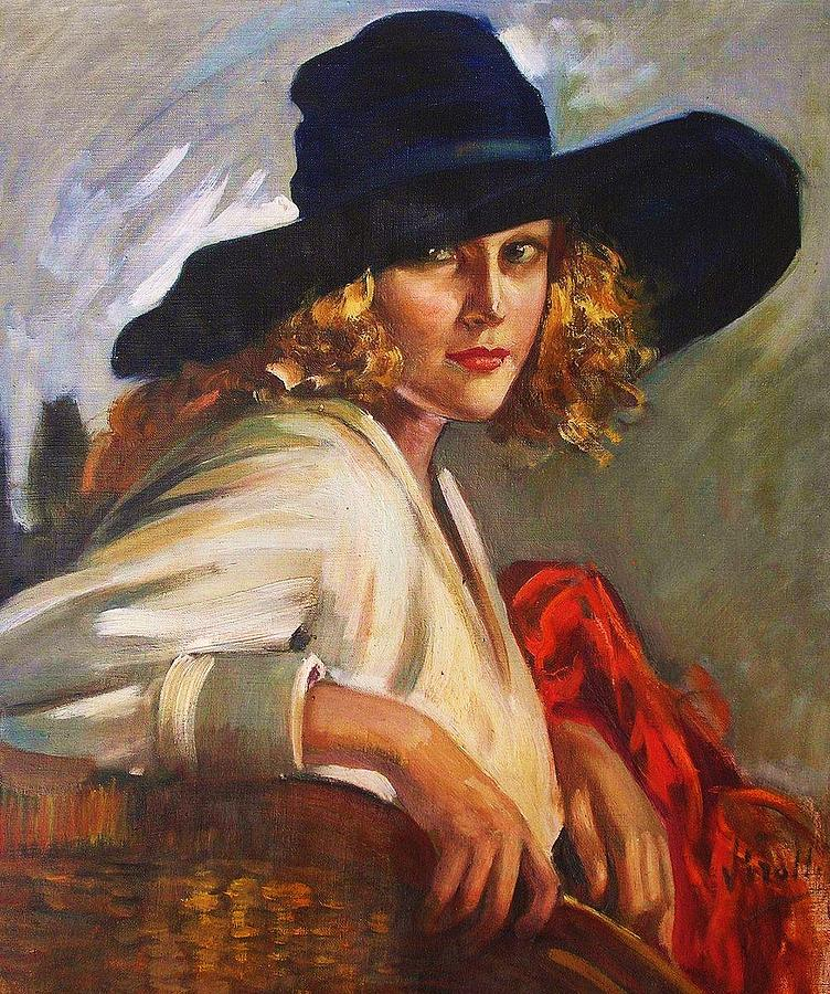 Blonde Lady - Black Hat Painting by Pg Reproductions d0eb551b1c7f