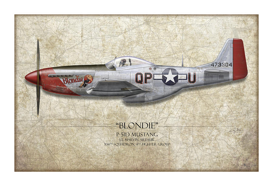 Aviation Painting - Blondie P-51d Mustang - Map Background by Craig Tinder