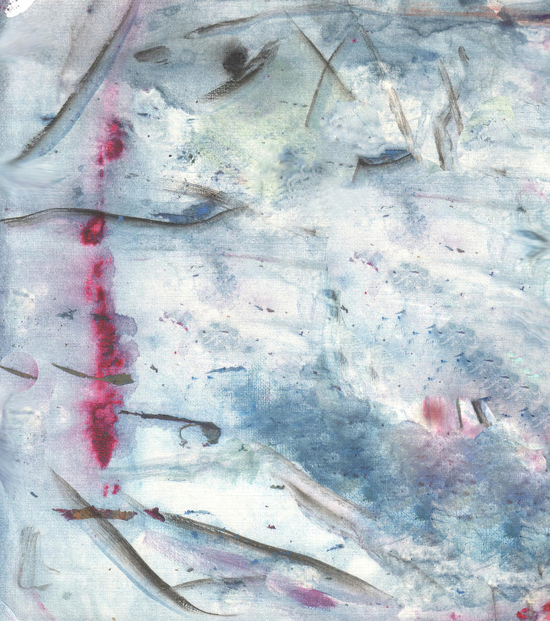 Blood In The Snow. White-blue Background Digital Art by Hanna Furs