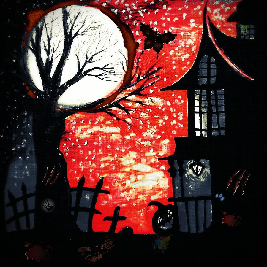 Halloween Drawing - Blood Moon by Denisse Del Mar Guevara