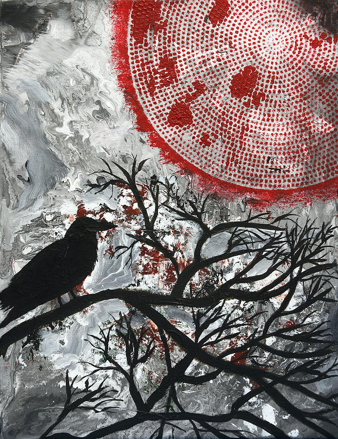 Bird Painting - Blood Moon by Maura Satchell