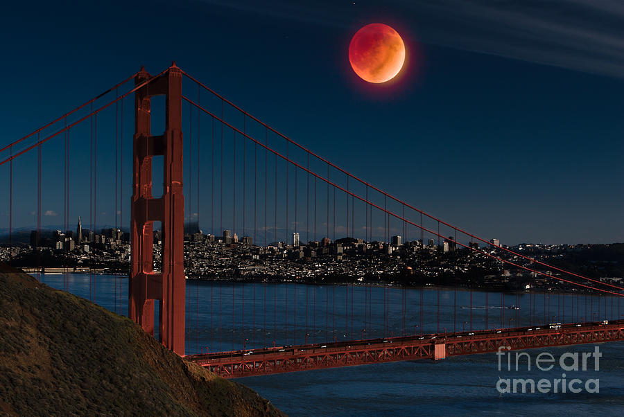 Bridge Photograph - Blood Moon Over Golden Gate Bridge by Dan Hartford