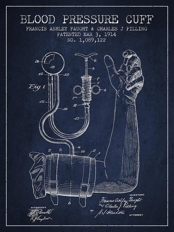Medical Device Digital Art - Blood Pressure Cuff Patent From 1914 by Aged Pixel