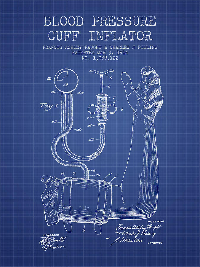 Blood pressure cuff patent from 1914 blueprint digital art by medical device digital art blood pressure cuff patent from 1914 blueprint by aged pixel malvernweather Image collections