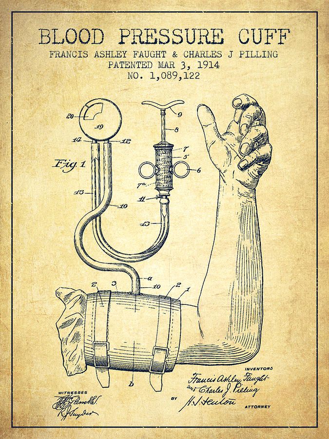 Medical Device Digital Art - Blood Pressure Cuff Patent From 1914 -vintage by Aged Pixel