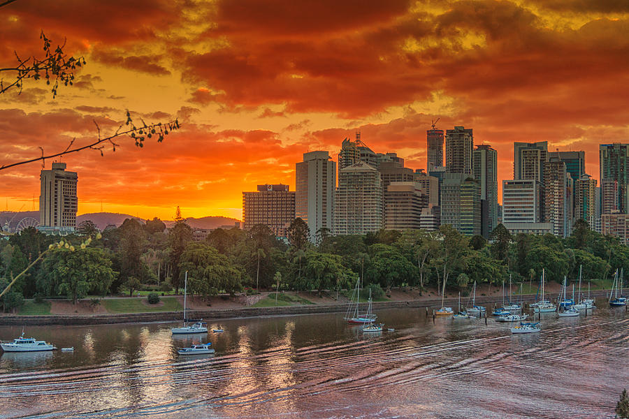 Golden Brisbane Sunset by Peter Lombard