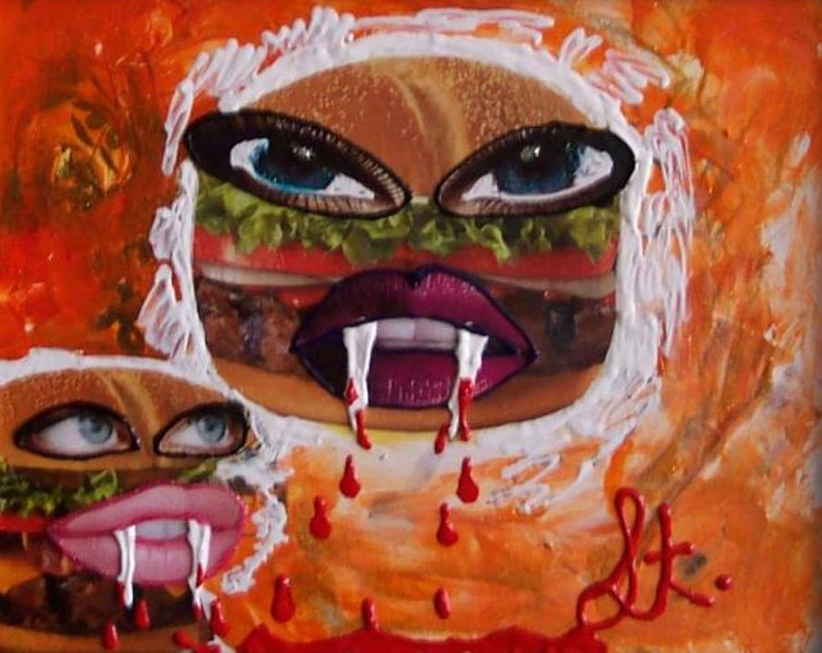 Food Painting - Bloody Meat by Lisa Piper