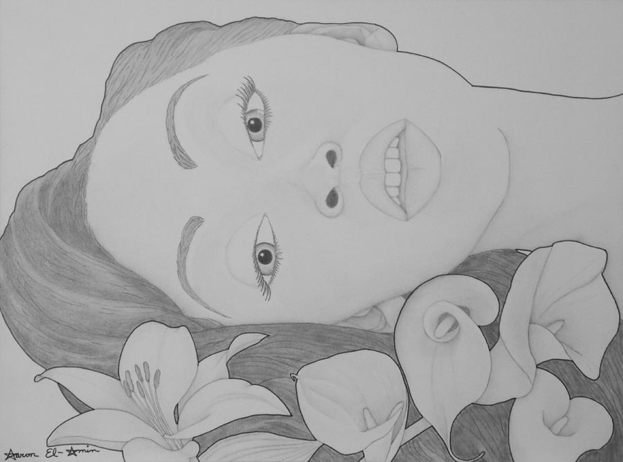 Girl Drawing - Blooming Girl Lily   by Aaron El-Amin