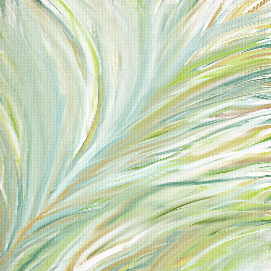 Light Green Painting - Blooming Grass by Lourry Legarde