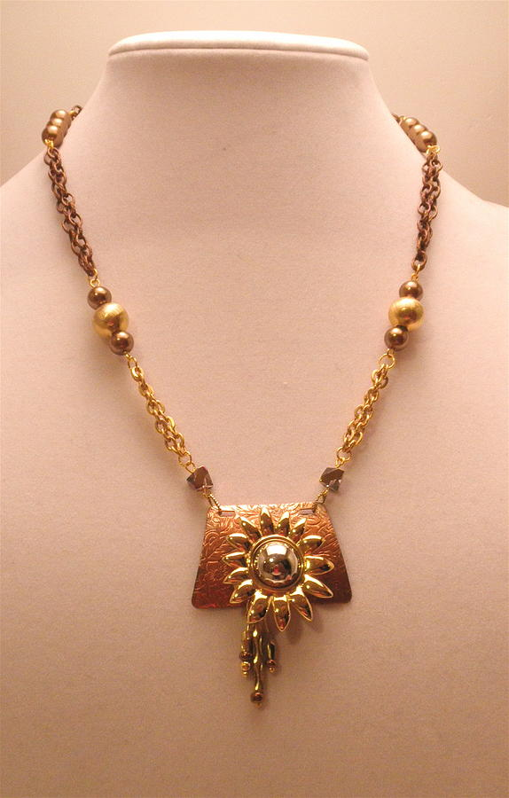 Blooming Sunflower Mixed Metal Necklace by Outre Art  Natalie Eisen