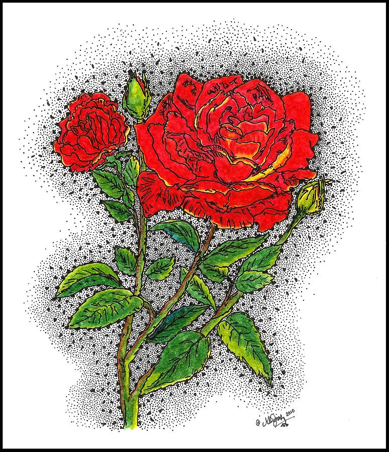 Stippling Drawing - Blooming Too by Glenn McCarthy Art and Photography