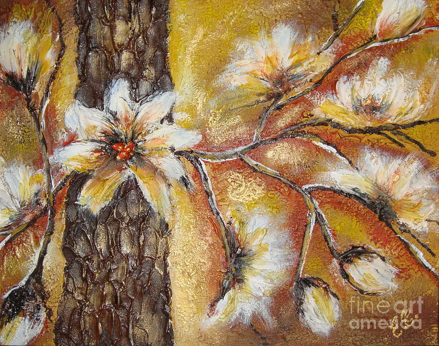 Flowers Painting - Blooming Tree by Elena  Constantinescu