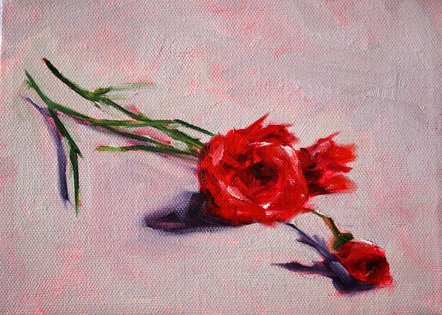 Red Painting - Blooms by Nancy Merkle
