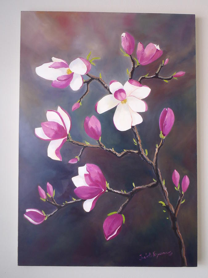 Magnolia Flowers Painting - Blossoming Magnolias by Isabel Cifuentes-figueroa