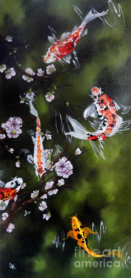 Cherry Blossoms Painting - Blossoms And Koi by Carol Avants