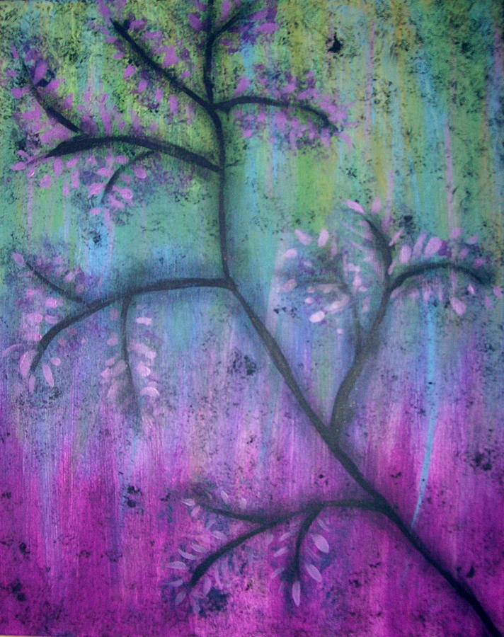 Purple Painting - Blossoms by Lora Mercado