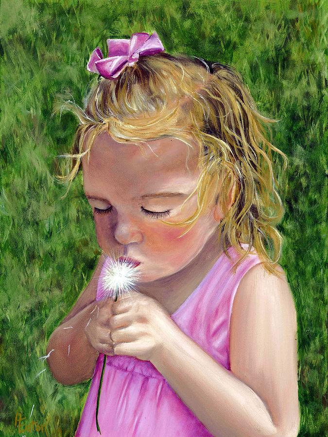 Little Girl Portrait Painting - Blow On It by Helen Eaton