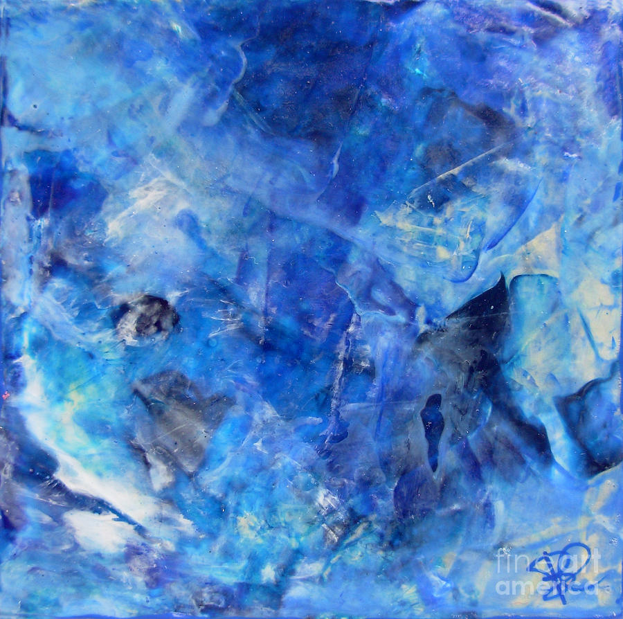 Blue Abstract Square Painting Blue Shades Modern Wall Art By Chakramoon