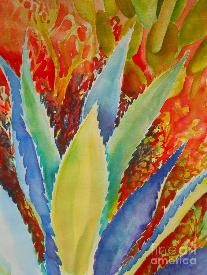 Desert Painting - Blue Agave by Summer Celeste