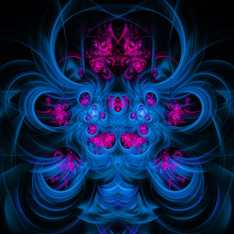 Blue And Pink Abstract Fractal Art Square Format Digital