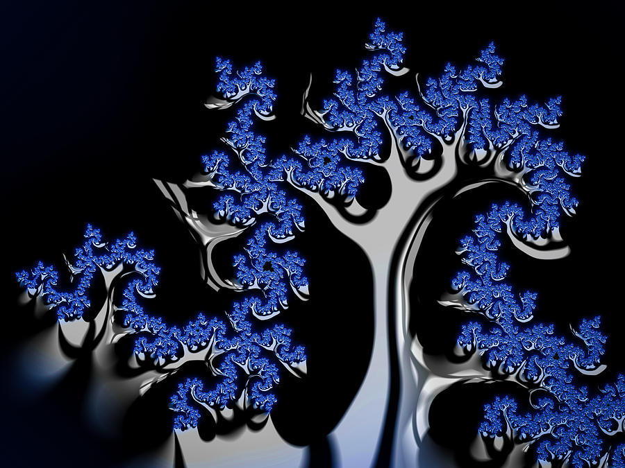 Blue Digital Art - Blue And Silver Fractal Tree Abstract Artwork by Matthias Hauser