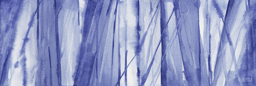 Abstract Painting - Blue And White Abstract Panoramic Painting by Beverly Brown