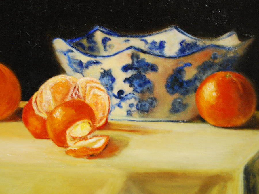 Tangerines Painting - Blue And White Bowl And Tangerines by Ann Simons