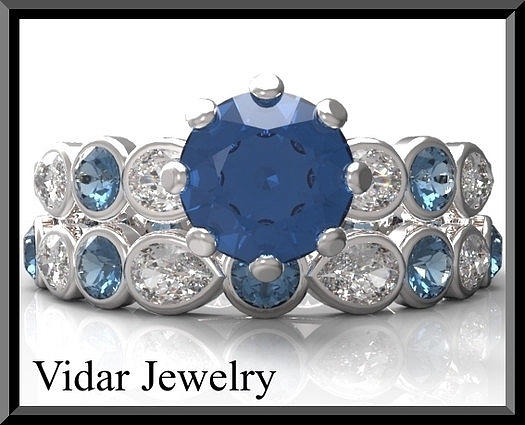 Gemstone Jewelry - Blue And White Sapphire 14k Wedding Ring And Engagement Ring Set by Roi Avidar