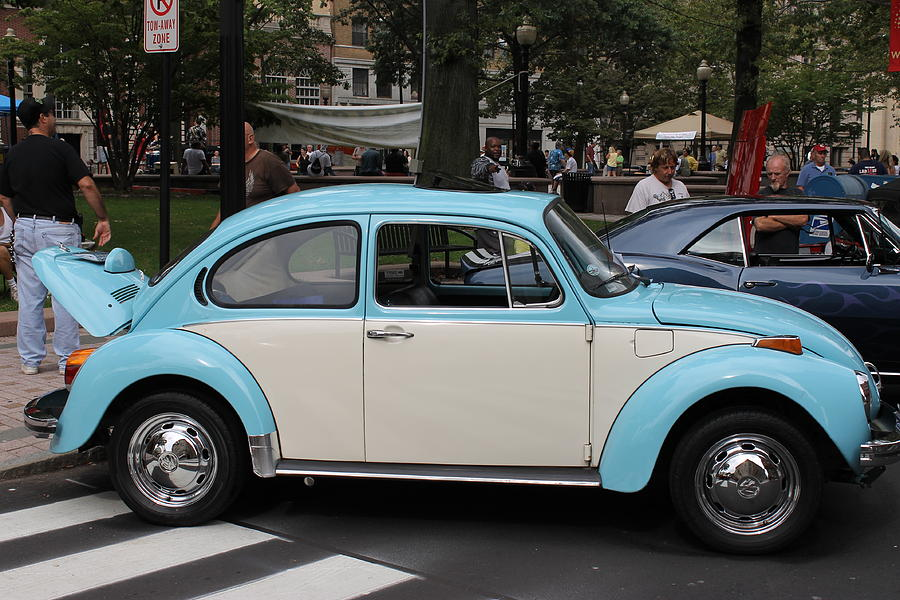 Beetle Photograph - Blue And White Volkswagen Beetle by Norberto Medina Jr