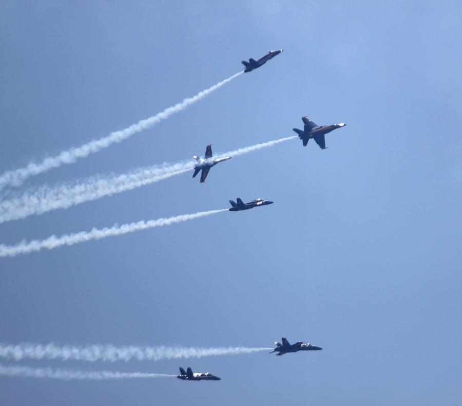 Blue Angels Photograph - Blue Angels Breakaway by French Toast