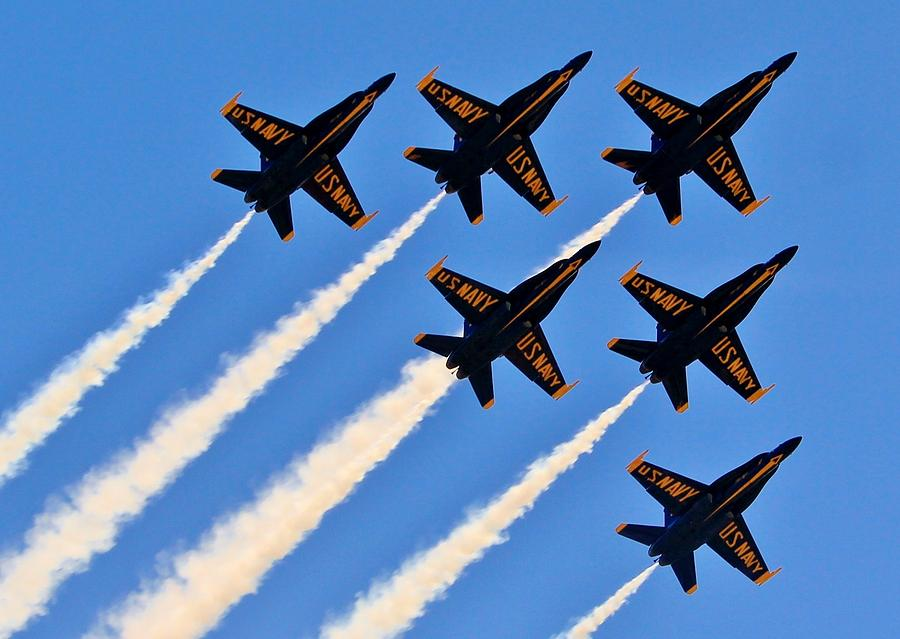 Blue Angels Photograph - Blue Angels Overhead by Benjamin Yeager
