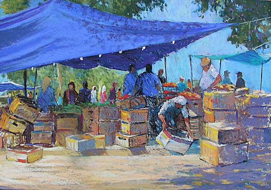 Market Scene Painting - Blue Awnings by Jackie Simmonds