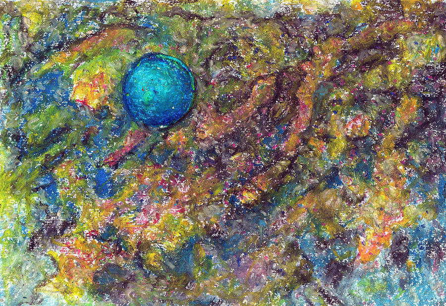 Abstract Pastel - Blue Ball In Space by Yuri Lushnichenko
