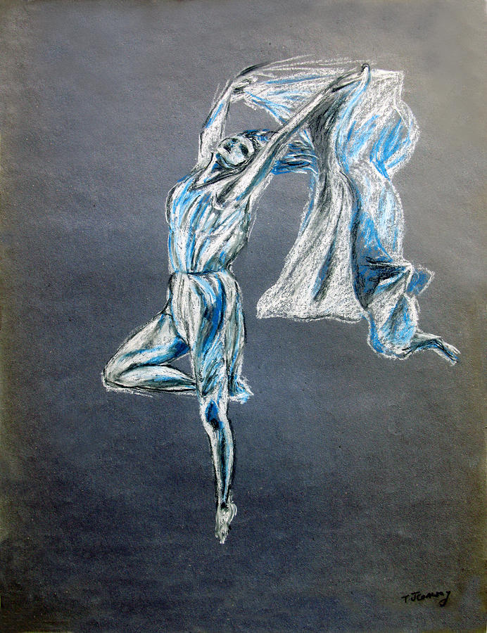 Ballet Drawing - Blue Ballerina Dance Art by Tom Conway
