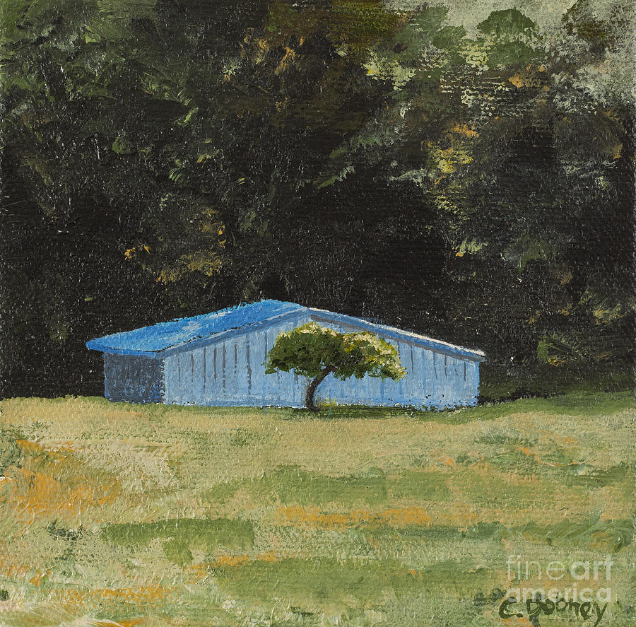 Blue Barn Painting - Blue Barn by Carla Dabney