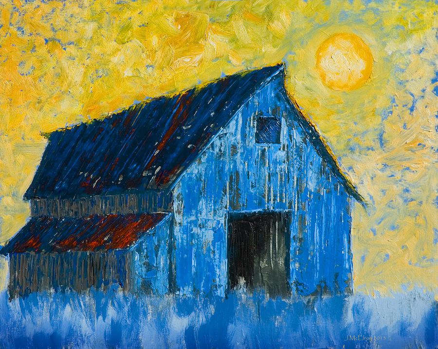 Barn Painting - Blue Barn Number One by Jerry McElroy