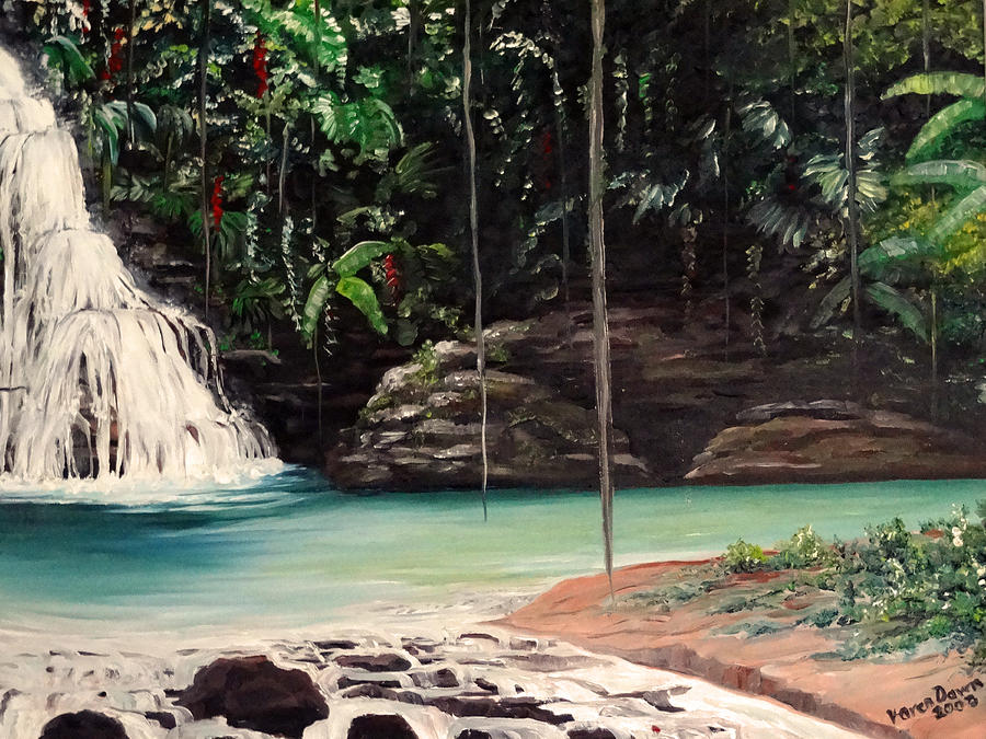 Tropical Waterfall Painting - Blue Basin by Karin  Dawn Kelshall- Best