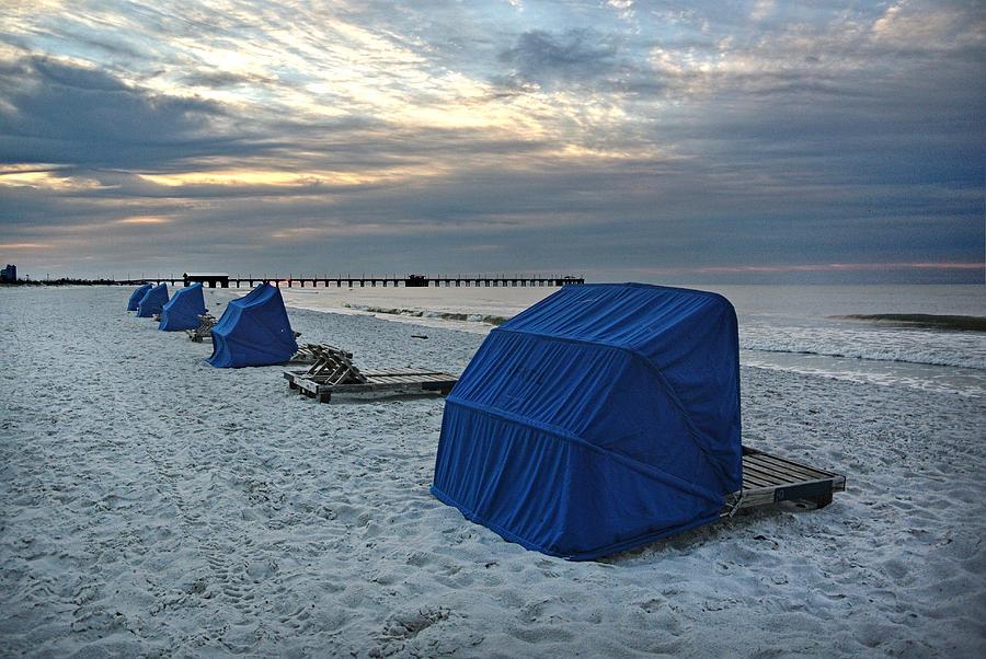 Alabama Digital Art - Blue Beach Chairs by Michael Thomas