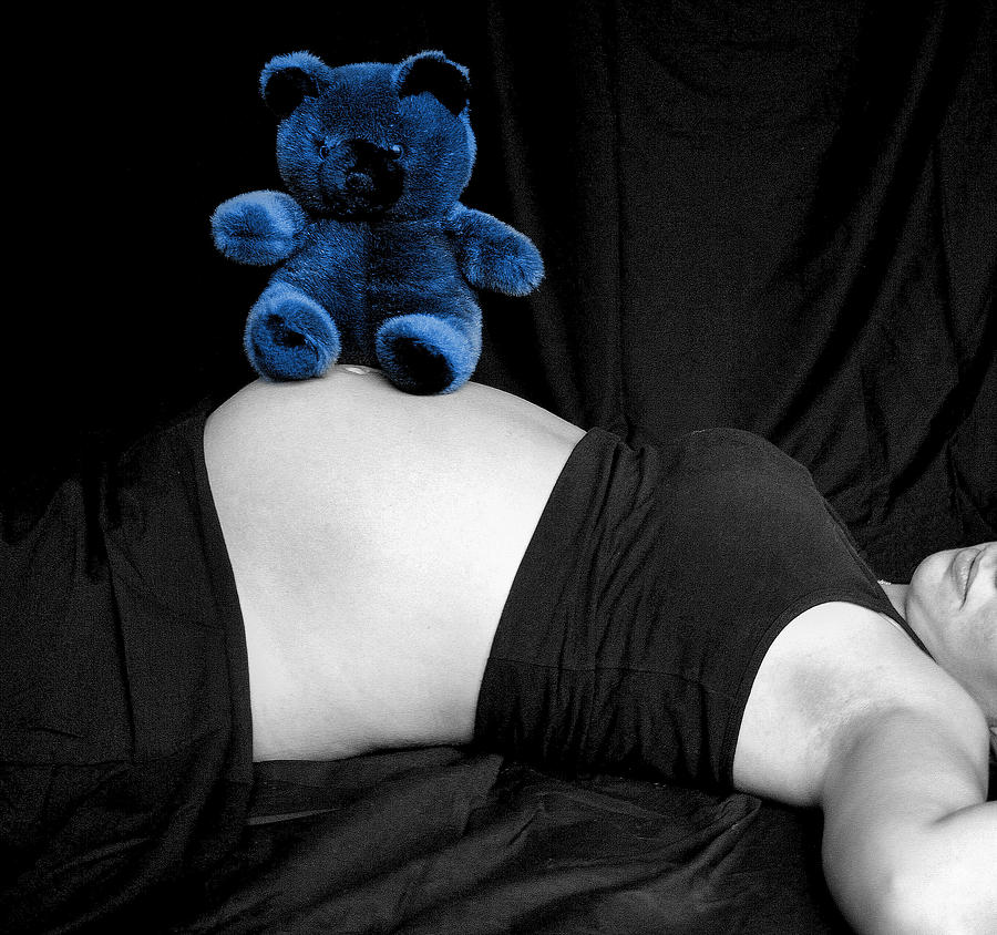Baby Photograph - Blue Bear And Baby Belly by Melissa Kimball