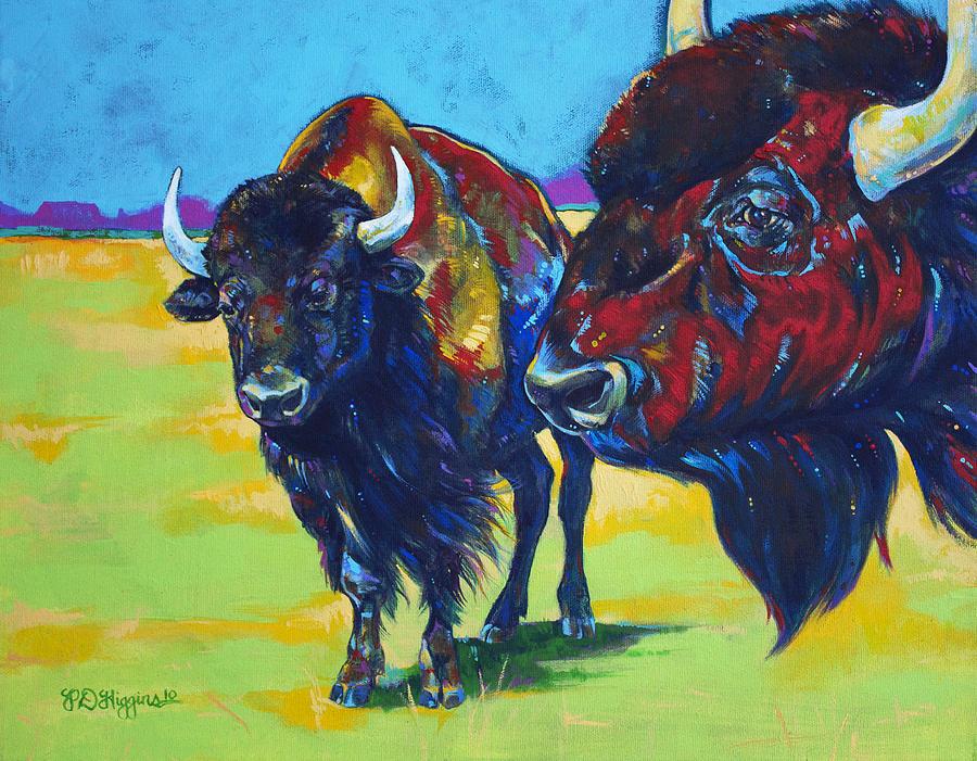 Bison Painting - Blue Beard by Derrick Higgins