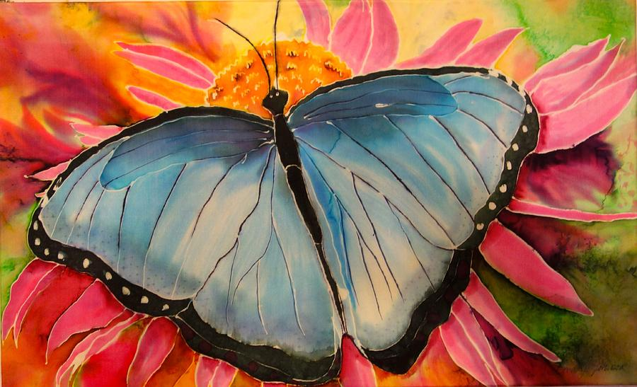 Butterfly Painting - Blue Beauty by Beverly Johnson