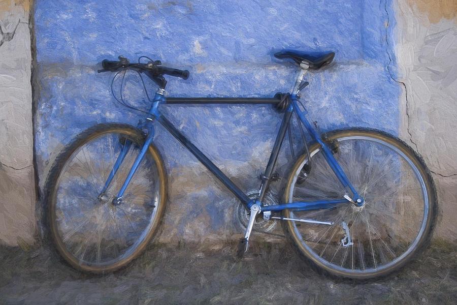 Bike Photograph - Blue Bike Blue Wall Painterly Effect by Carol Leigh