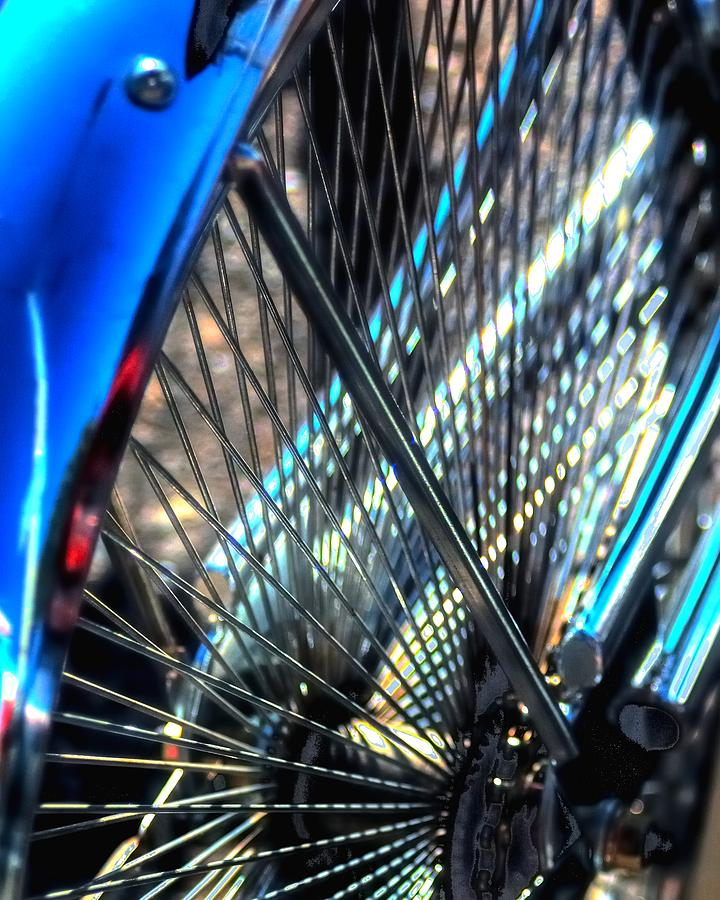 Blue Bike Spokes 28992 Photograph