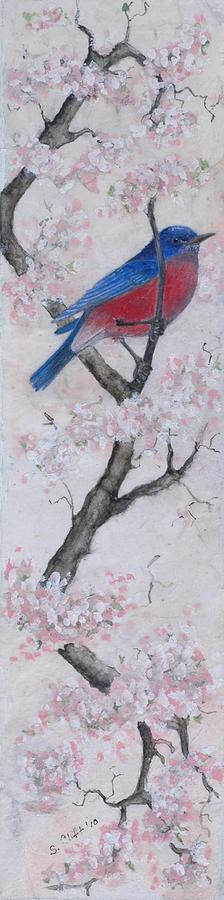 Bluebird Painting - Blue Bird In Cherry Blossoms 2 by Sandy Clift