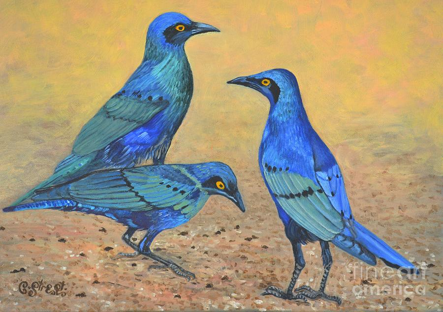 Starlings Painting - Blue Birds Of Happiness by Caroline Street