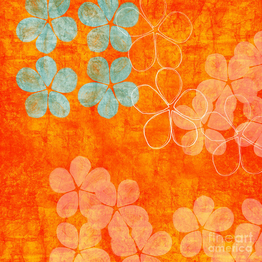 Abstract Painting - Blue Blossom On Orange by Linda Woods